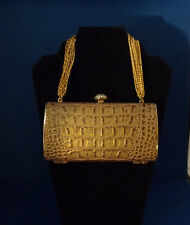 Evening bag/Cosmetic clutch in Gold with Judith Leiber mini hand mirror