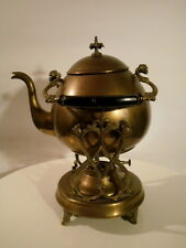 WMF WMFM Art Nouveau Brass hot Water Tea Kettle on Stand with Warming Burner