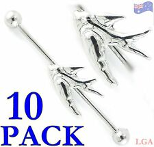 Pack of 10 Silver Swallow Bird Industrial Barbell Tongue Nipple Barbells 14g