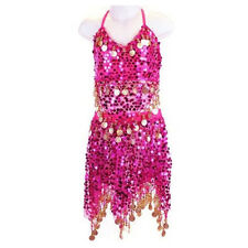 8 Colors Girls Kids Belly Dance Costume Sparkly Circle Sequin Coins Top & Skirt