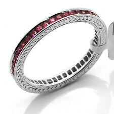 14K WHITE GOLD RUBY MILGRAIN ETERNITY WEDDING BAND STACKABLE STACK RING  5 6 7 8