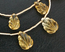 Eye Clean Natural Citrine Carved Leaf Briolette Beads (3PCS)