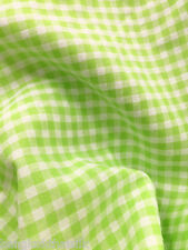 "Neon Green & White 1/4"" CHECKERED BUFFALO GINGHAM COTTON BLEND FABRIC 45"" BTY"