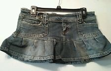 Juniors Anchor Blue ruffled vintage wash denim mini skirt size 11