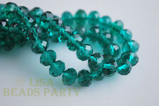 100pcs 4x6mm Faceted Rondelle Crystal Glass Loose Spacer Bead Peacock Green