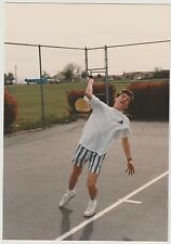 Vintage 80s PHOTO Teen Boy Guy Playing Tennis In Motion