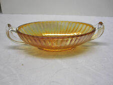 Iridescent Amber Gold Carnival Depression Glass Dish With Clear Handles