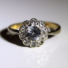 Edwardian Old Cut Rock Crystal Daisy Cluster 9ct Yellow Gold Ring size M ~ 6 1/4