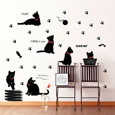 New Cute Black Cat Wall Stickers Removable Kitchen Mural Home Decal