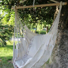 Cotton Rope Hammock Hanging Swing Chair  Sky Canvas Solid wood Outdoor Porch