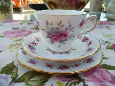 Lovely Royal Vale China Trio Tea Cup Saucer Plate Pink Rose Forget Me Not 8186