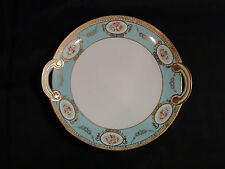 Hand Painted Nippon Pink Rose & Gold Gilt Handled Cake Plate Circa 1911 - 1921