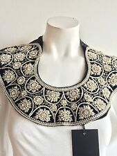 LA NISAY_BEADED_CRYSTAL_COLLAR_BIB_NECKLACE_BLACK_SILVER_NEW WITH TAG