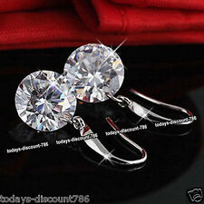 925 Silver Drop Round 8mm CZ Crystal Earrings Xmas Gift For Her Wife Girl Women