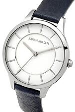 Karen Millen Women's Watch White Dial Navy Leather Strap KM133U RRP £85