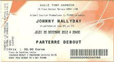 RARE / TICKET DE CONCERT LIVE - JOHNNY HALLYDAY A LYON 2012 - HALLE TONY GARNIER