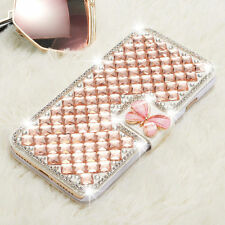 Bling Crystal Diamond Butterfly Flip Card Wallet Case Cover For iPhone/Samsung