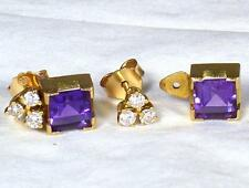 Boxed 18ct Gold 6 Diamond & 2 Removable Princess Cut Amethyst Stud Back Earrings