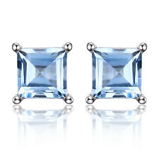 Natural Sky Blue Topaz Earrings Stud Solid 925 Sterling Silver Women's Square