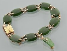 Antique Victorian 9ct Gold Nephrite Jade New Zealand Green Stone Bracelet c1900