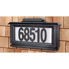 House Plaque Black Solar Powered Lighted Address Plaque Front Yard Mount Number