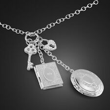 "Genuine Solid Sterling Silver Heat Key Pendant Photo Frame Necklace 19"" N115"