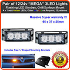 2 x 3LED 12/24V Land Rover LED amber strobe recovery breakdown beacons light bar