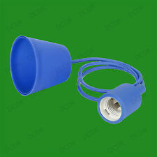 Blue Silicone Coated ES E27 Rose Pendant Ceiling Lamp Light Bulb Holder Kit