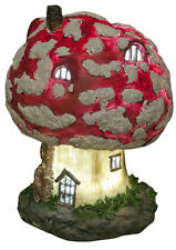 Secret Fairy Garden Toadstool House Solar Powered LED Light Up Garden Ornament
