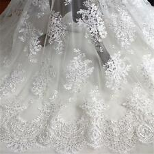 "Vintage Bridal Corded Lace Fabric 51"" Sequin Beaded Wedding Dress Lace 0.5Meter"