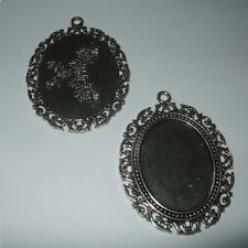 OVAL ANTIQUE SILVER BRONZE GOLD CAMEO CABOCHON PENDANT SETTING 40x30mm TRAY C07