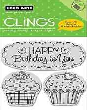 HERO ARTS CLINGS Stamps HAPPY BIRTHDAY CUPCAKES CG151 SUPER CUTE!!!
