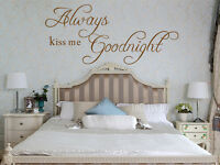 Hand Carving ALWAYS KISS ME GOODNIGHT Words Quote Wall ART Sticker UK RUI148