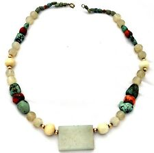 Antique Chinese Untreated White Jade, Coral, Turquoise & 14K gold beads Necklace