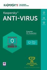 KASPERSKY ANTI VIRUS 2017 - 3 PC DEVICE - NEW - DOWNLOAD