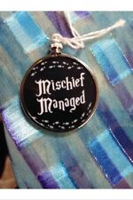 Harry Potter Saying doublesided Charm Pendant Mischief Managed Black Bckground1B