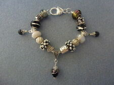 *Handmade Luxury Black & White Chunky Lampwork Beaded Charm Bracelet-Great Gift*