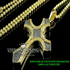 Mens/Women's Gold Finish  Black/White Genuine Diamond Cross Pendant Charm Chain