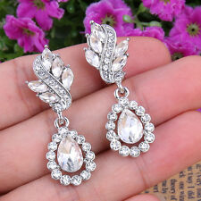 NEW Wedding Oval Teardrop Clip-on Dangle Earrings Clear Swarovski Crystal