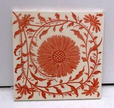Mintons Arts & Crafts Aesthetic Sunflower Red & Cream Tile 1st of 2