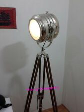 VINTAGE NAUTICAL-SEARCHLIGHT WITH BROWN TRIPOD-STAND-SPOT-LIGHT-STUDIO-FLOOR-