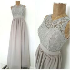 Bridesmaids Dress Size Medium Gray Lace Long Sheer Open Back Prom Formal Evening