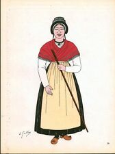Gravure d'Emile Gallois costume des provinces françaises 1950 Guyenne, Haut-Quer