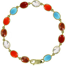 BJC® 9ct Yellow Gold Autumn Winter Bracelet Coral Turquoise Amber Mother Pearl