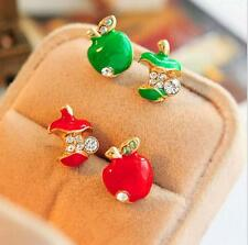 2Pair Fashion Female Jewelry Colour Apple Exquisite Earrings Rhinestone Gift New