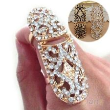 GOLD Metal CLEAR Rhinestone  Knuckle Ring Finger Joint Ring ONE SIZE