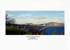 DUNDEE & TAY ROAD BRIDGE FROM FIFE SIGNED by SELF REP' ARTIST FREE P&P