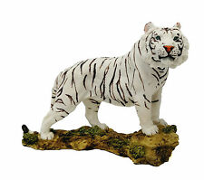 "7.25"" White Tiger Collectible Wild Cat Animal Decoration Figurine Statue"
