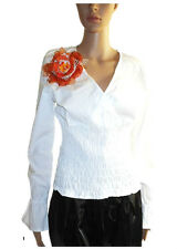 ONLY Ladies Vtg Classic V Neck White Wrinkly Blouse Top with Free Gift sz L AB52