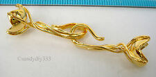 1x 18K GOLD plated STERLING SILVER FLOWER END CAP CONNECTOR HOOK CLASP G195